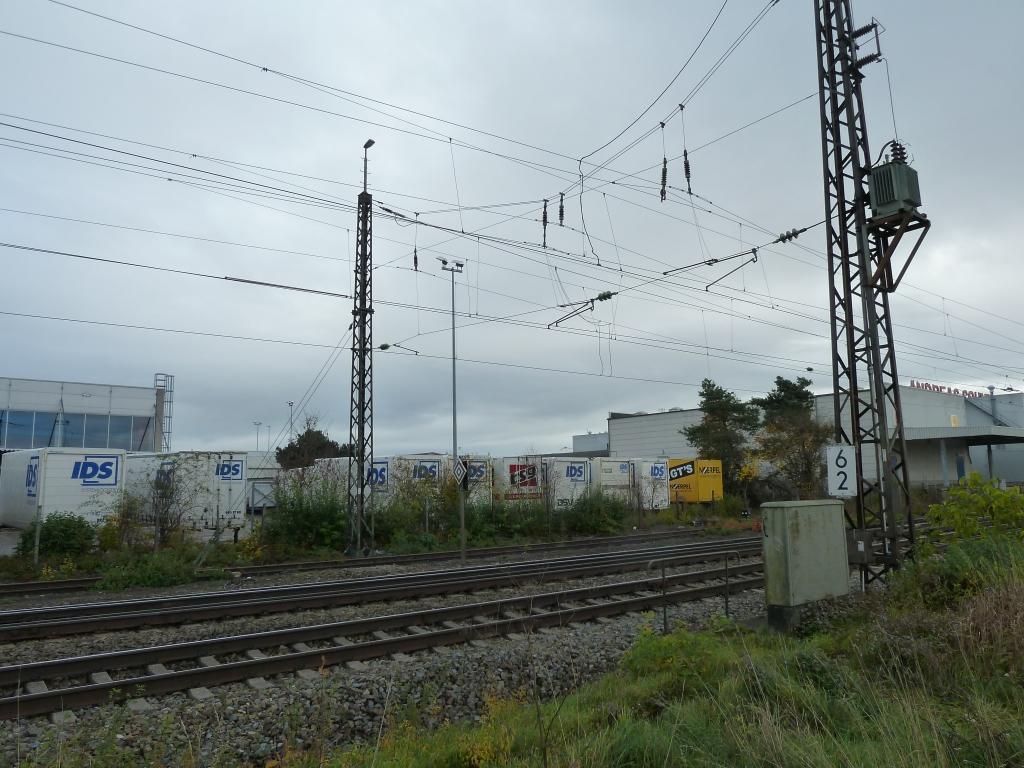 Masttrafo am Quertragwerk in Gersthofen